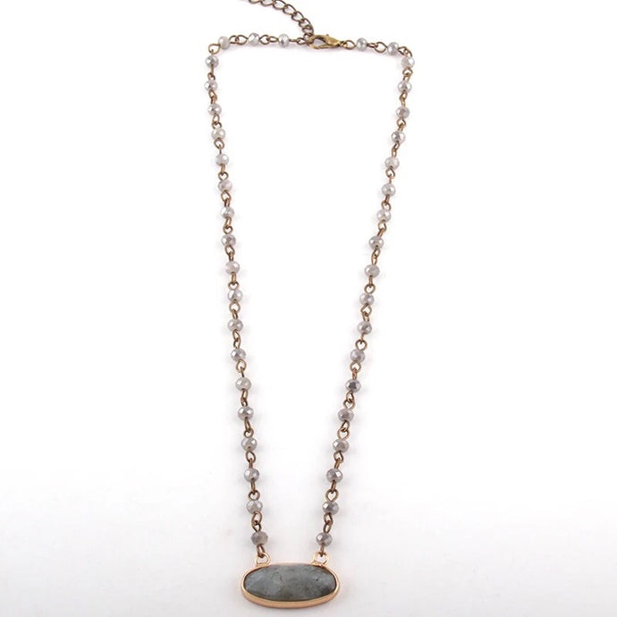 Love Stone Necklace - Grey