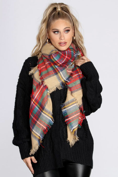 Plaid Blanket Scarf in Camel