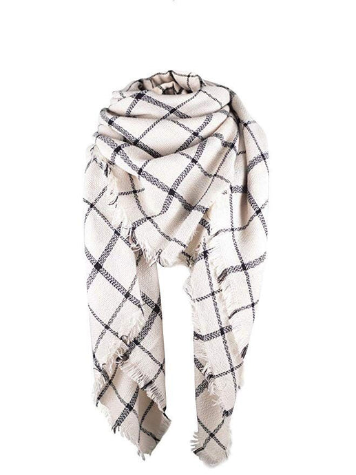 White Grid Blanket Scarf