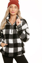 Load image into Gallery viewer, Pretty In Plaid Sherpa Pullover - White