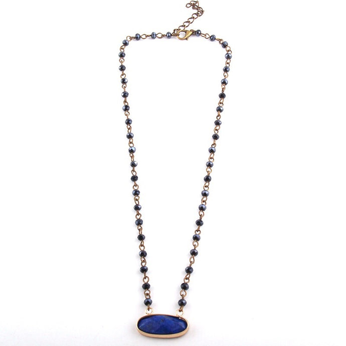 Love Stone Necklace - Dark Blue