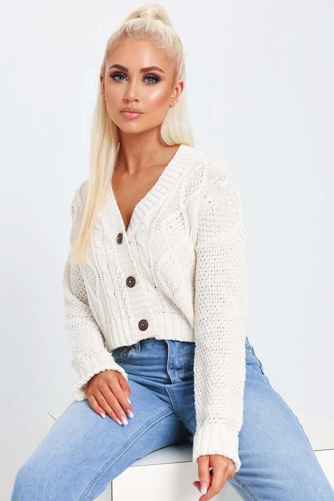 V Neck Button Up Cardigan - White