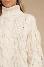 Load image into Gallery viewer, Knit Turtleneck Fringe Sweater