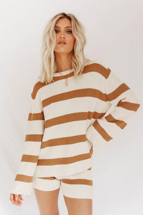 Striped Sweater & Shorts Matching Lounge Set