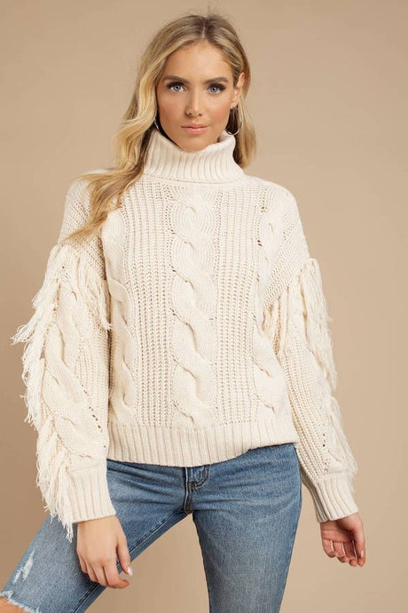 Knit Turtleneck Fringe Sweater
