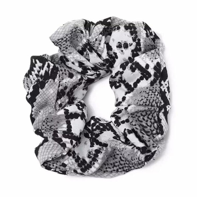 Grey Snakeprint Scrunchie