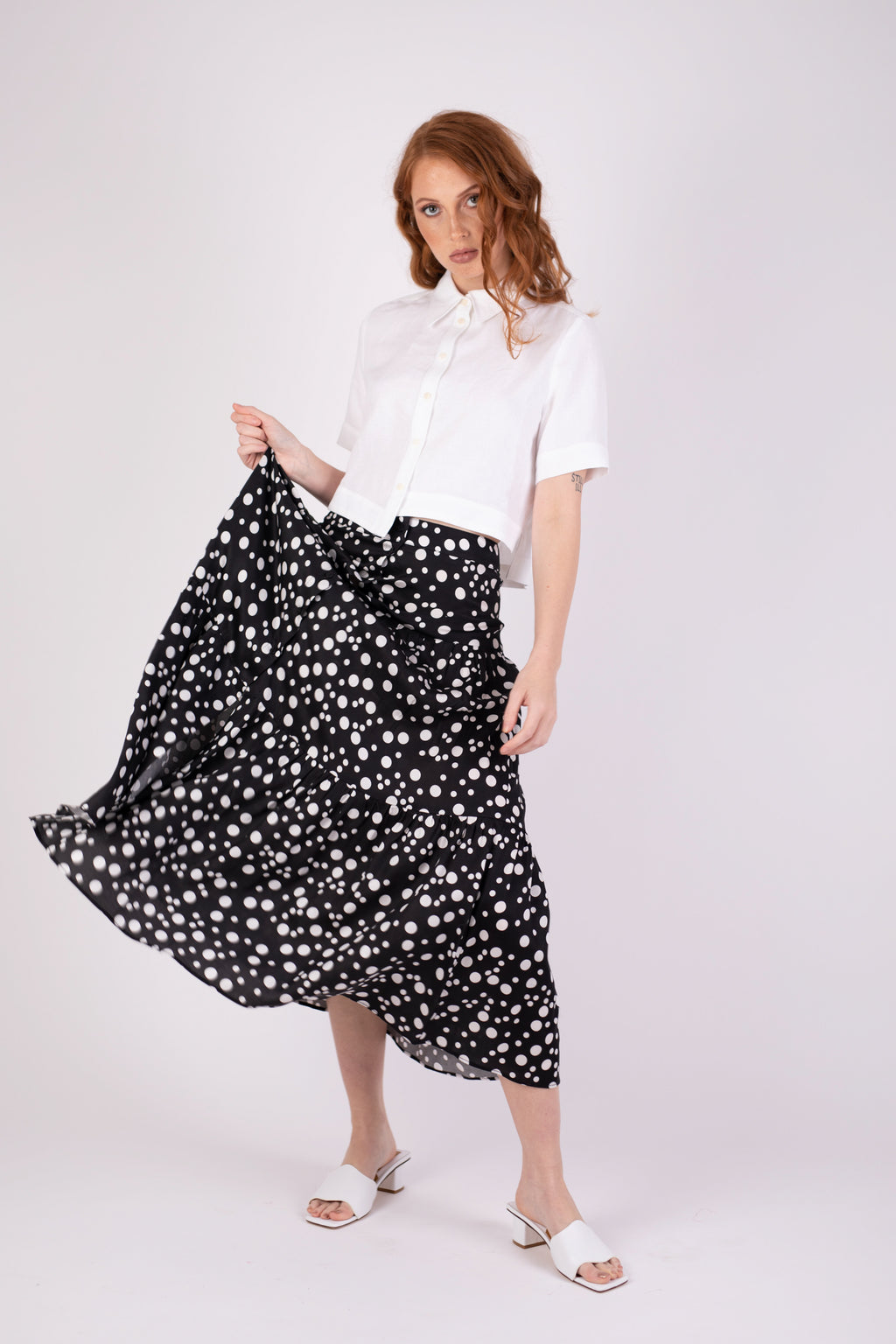 Valencia Skirt - Black Random Dot