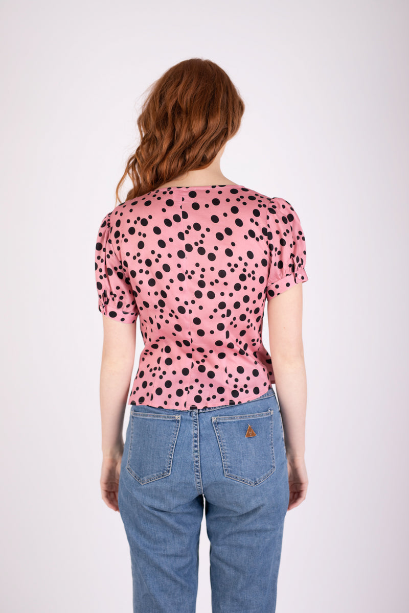 Margot Blouse - Pink Random Dot
