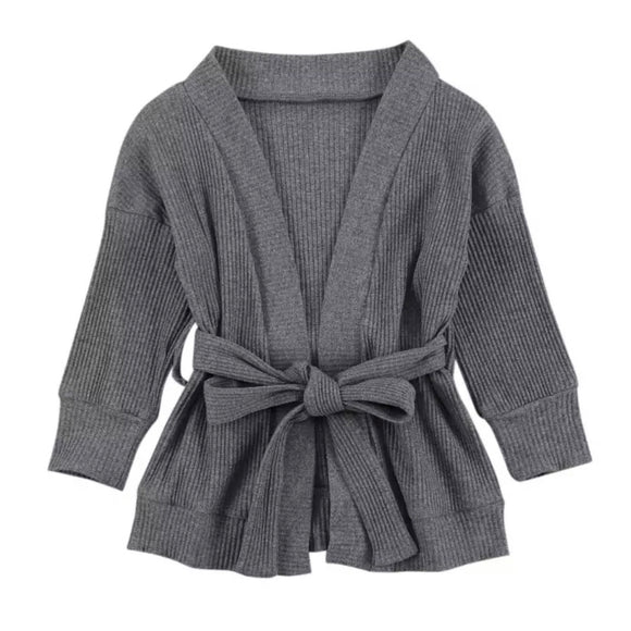 Ribbed Cardigan w/Belt (Grey)