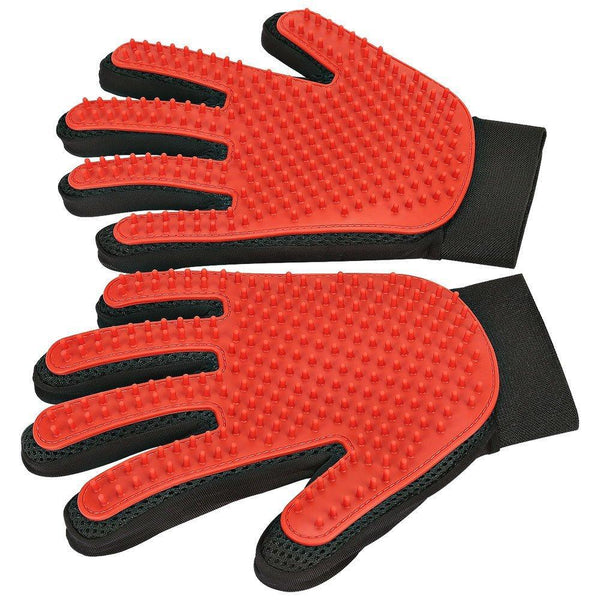 DELOMO 1 Pair Pet Grooming Deshedding Gloves - Red