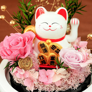 Lucky Cat & Preserved Rose Flower with Light
