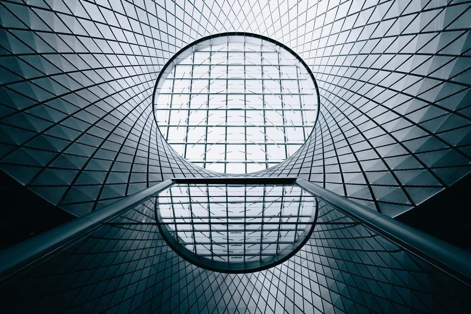 Looking up at the Sky Reflector-Net in New York City's Fulton Center