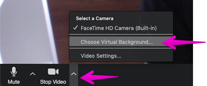 Select virtual background in video settings
