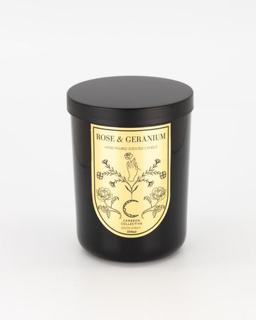 Rose and geranium scented candle
