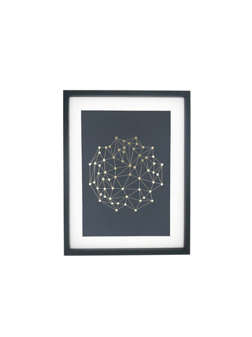 Geometry foiled print slate and gold