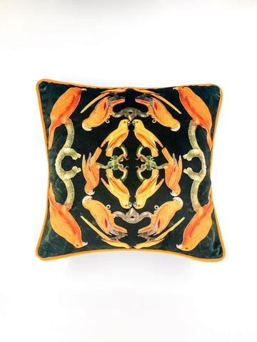 Velvet scatter cushion yellow birds
