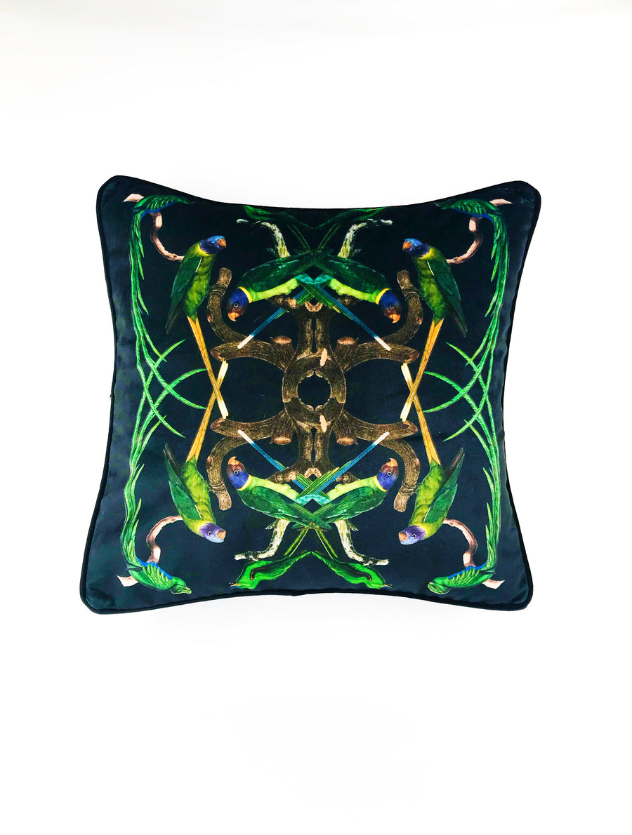 Velvet scatter cushion green birds