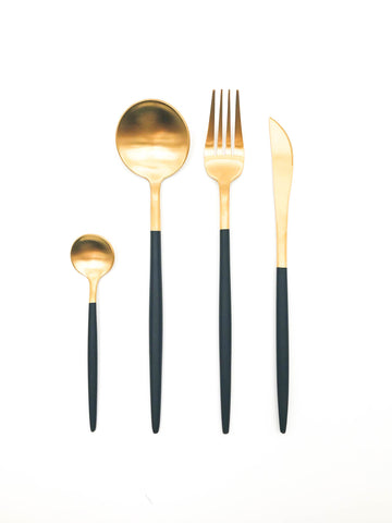 Black and gold cutlery set 16 piece