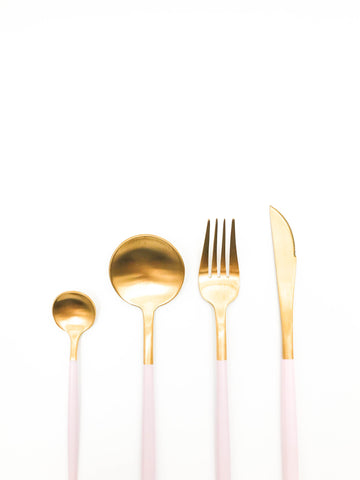 Pink and gold cutlery set 16 piece