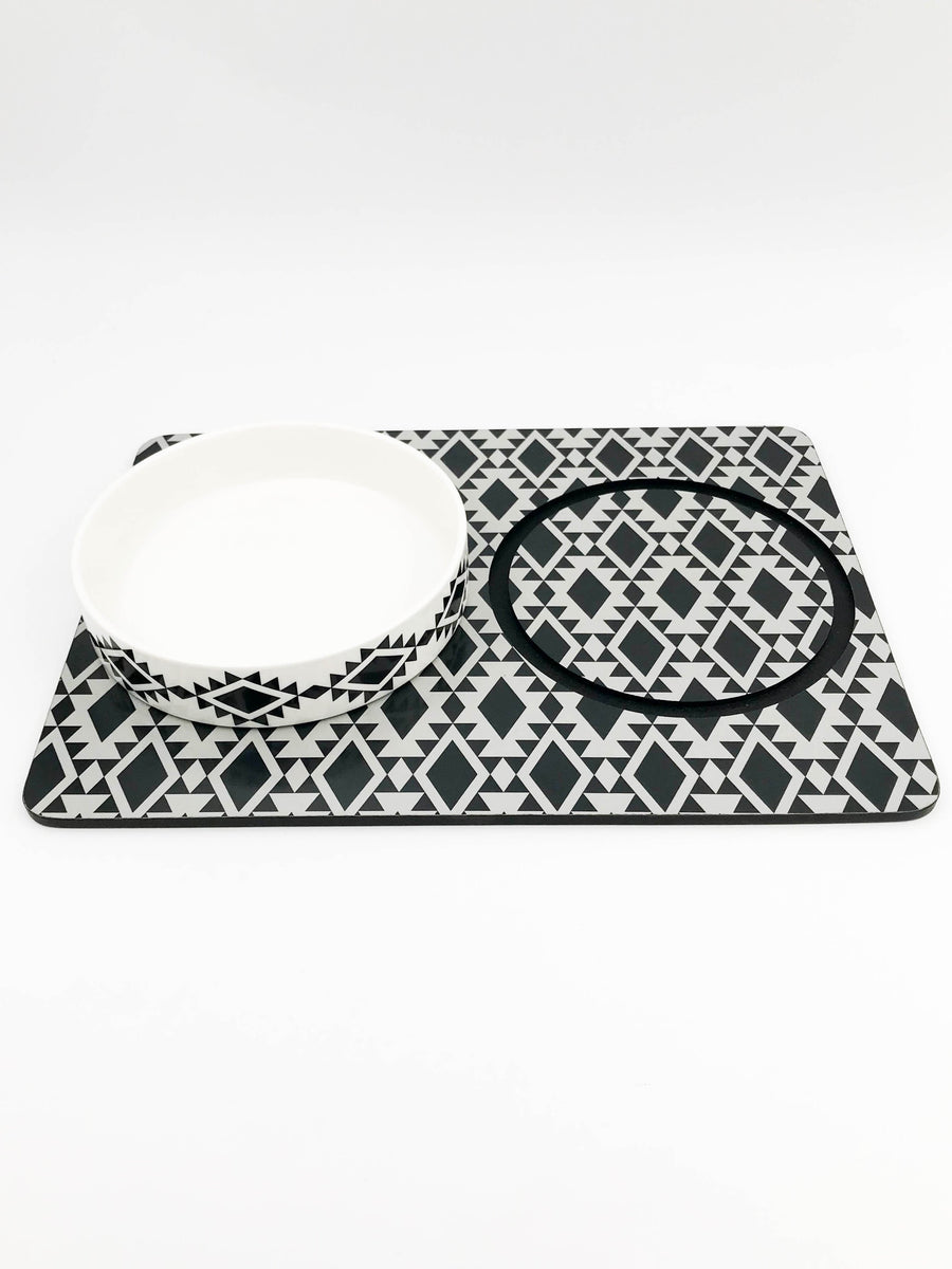 Large Ceramic Dog Bowl Set With Placemat - Native