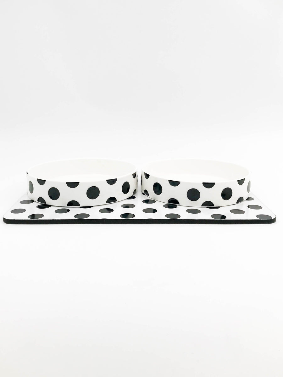 Large Ceramic Dog Bowls with Placemat -polka dot