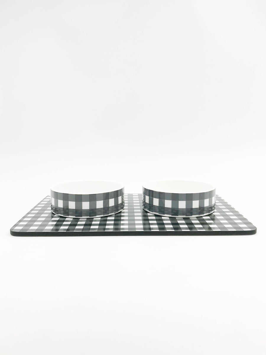 Small ceramic dog or cat bowl Set with feeding mat - Plaid