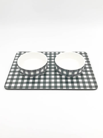 Small ceramic dog or cat bowl Set - Plaid