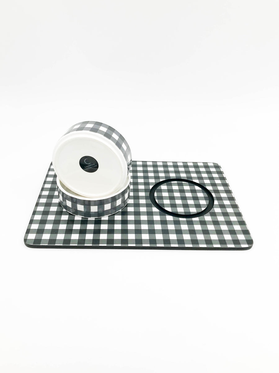 Small ceramic dog or cat bowl Set with placemat - Plaid