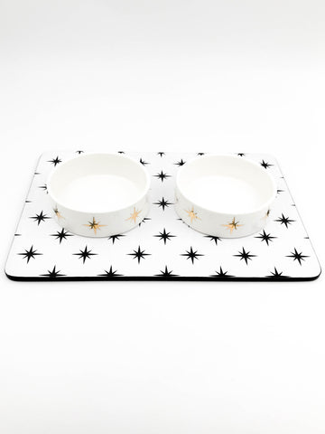 Small modern ceramic dog or cat bowl set with placemat - Stars