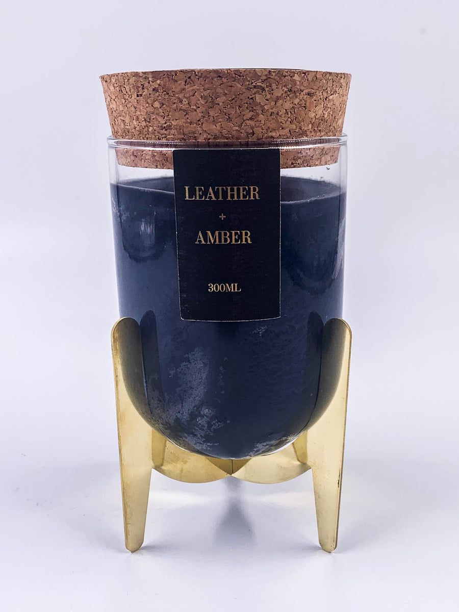 Leather and amber soy wax candle