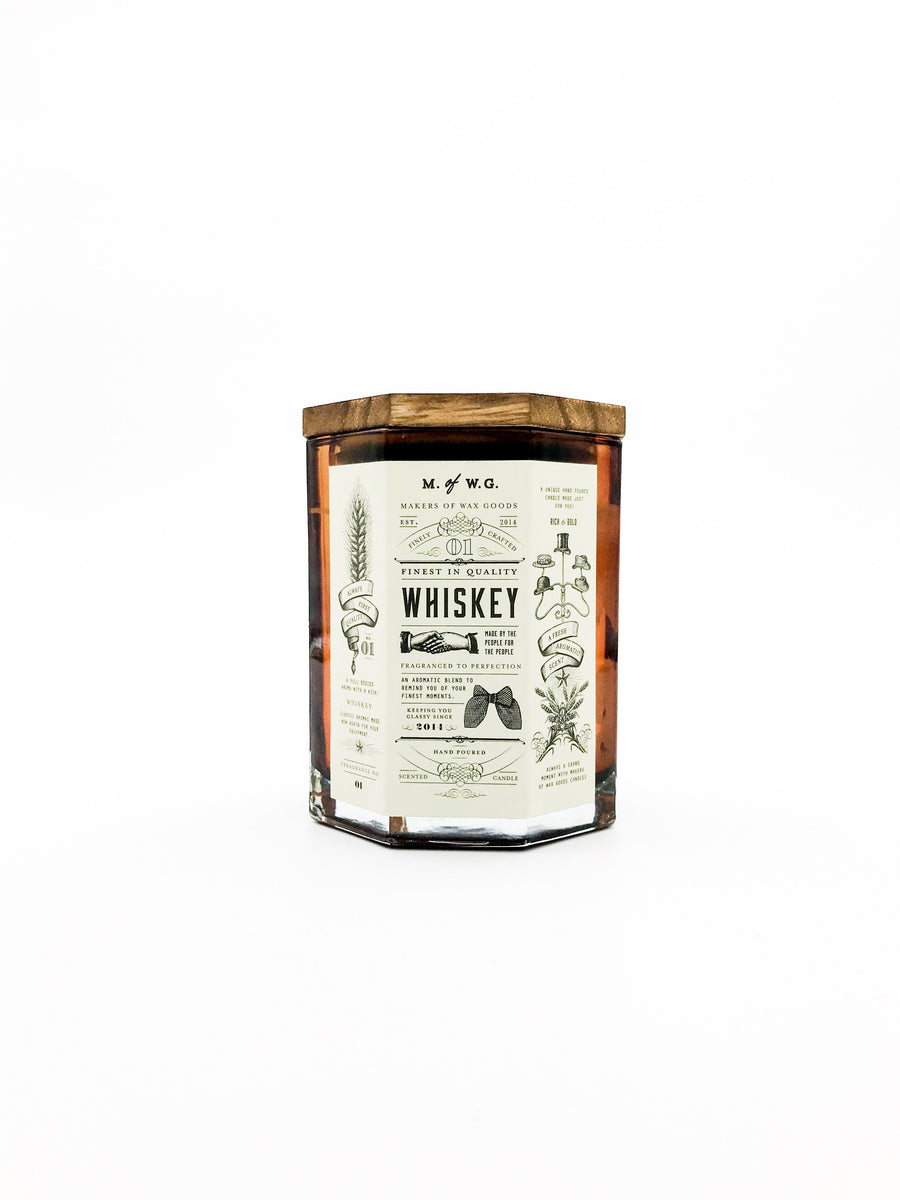 Large whiskey soy wax candle wooden wick