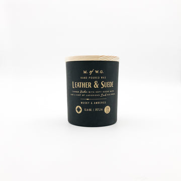 Large leather and suede soy wax candle