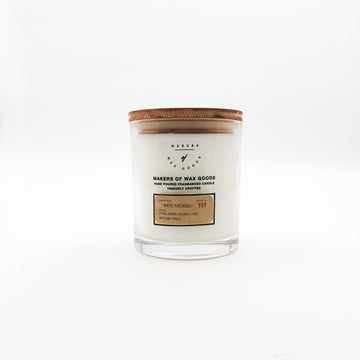 Large white pachuli soy wax candle