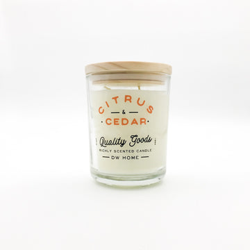 Large citrus and cedar soy wax candle