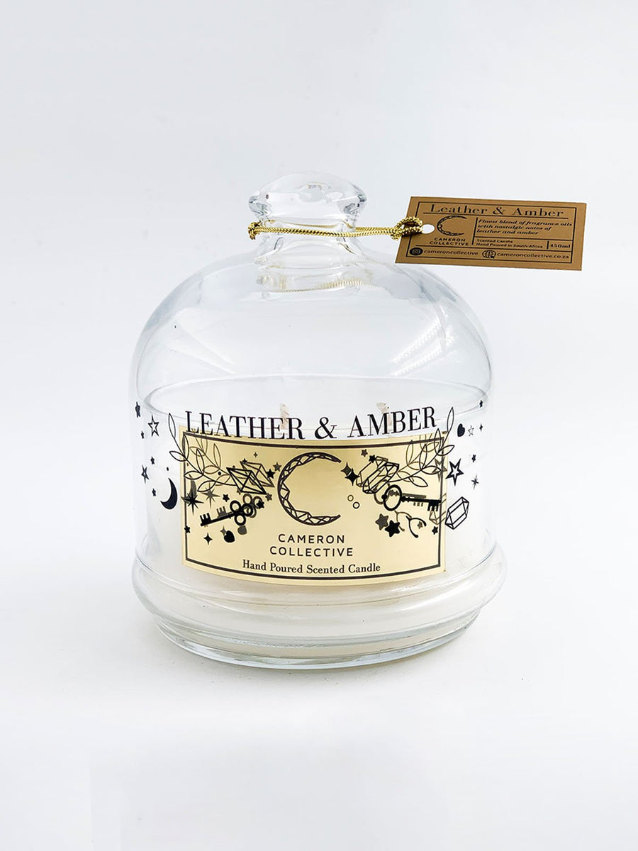 Leather and amber scented candle