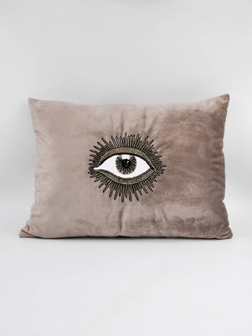 Hand beaded scatter cushion left eye