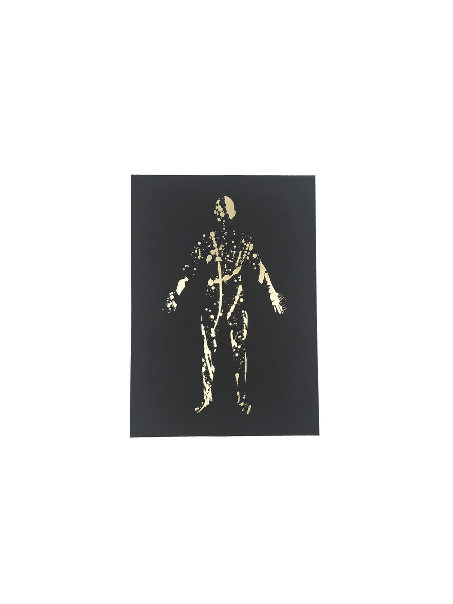Splatter silhouette print black and gold