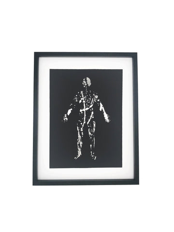 Splatter silhouette print black and silver