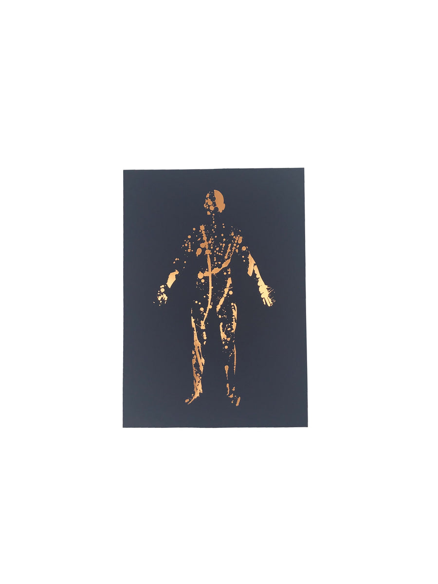 Splatter silhouette print copper and navy