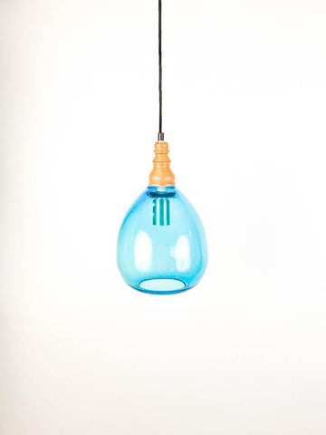 Teardrop Blue Glass Pendant Light
