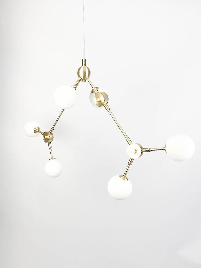 Brass Modern Chandelier - Molecular Pendant Light