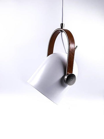 Contemporary Pendant Light - Leather Bound - White