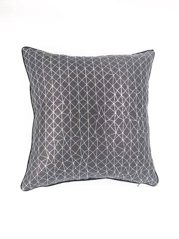 Irregular geometry silver scatter cushion