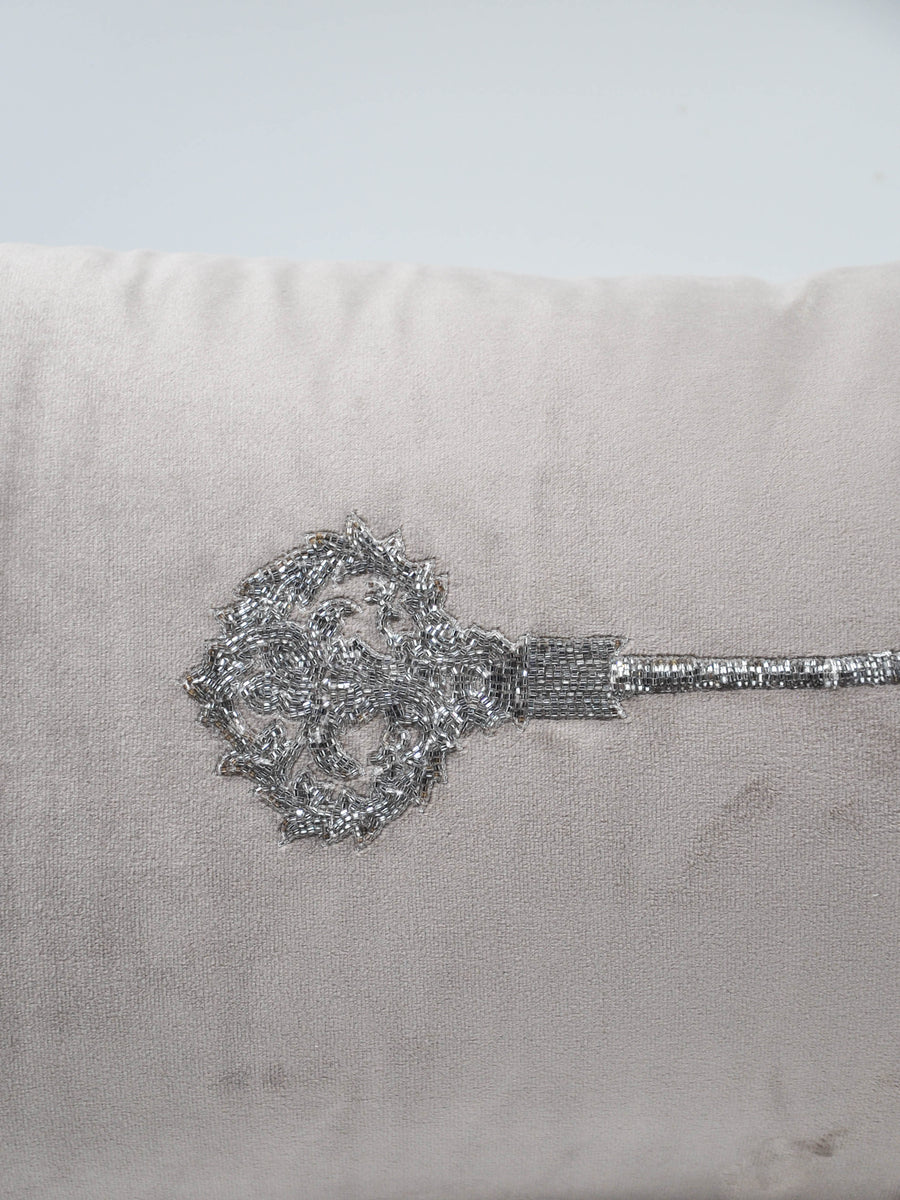 Hand beaded scatter cushion  key 1 silver