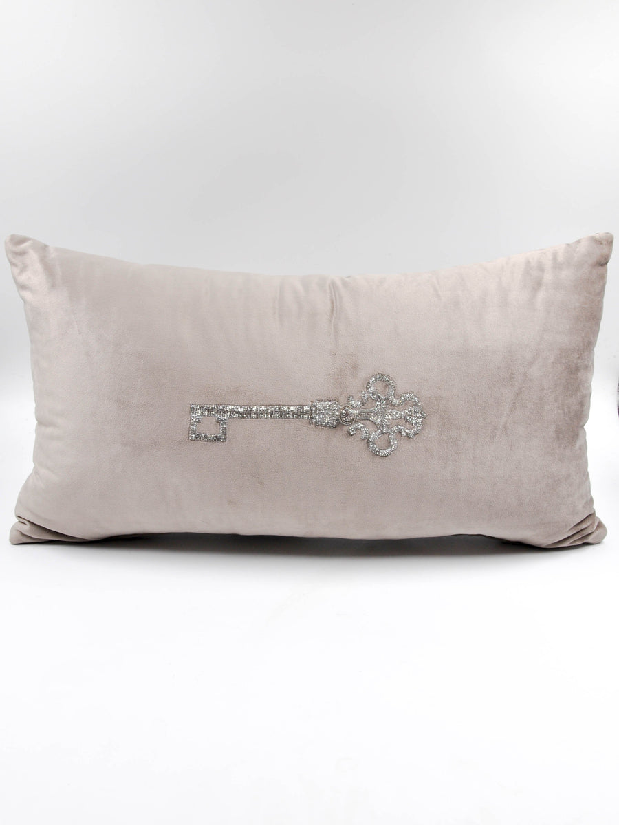 Hand beaded scatter cushion  key 2 silver