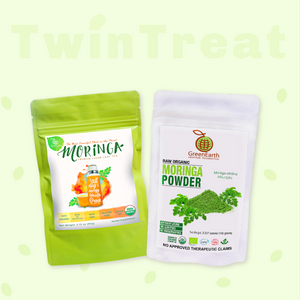 Moringa Miracle Twin Treat Pack of 2 of Moringa Loose Leaf Tea  2.12 oz + Moringa Powder 3.5 oz by GreenEarth