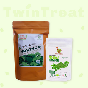 Moringa Miracle Twin Treat Pack of 2- Moringa Loose Leaf Tea  5 oz + Moringa Powder 3.5 oz by GreenEarth
