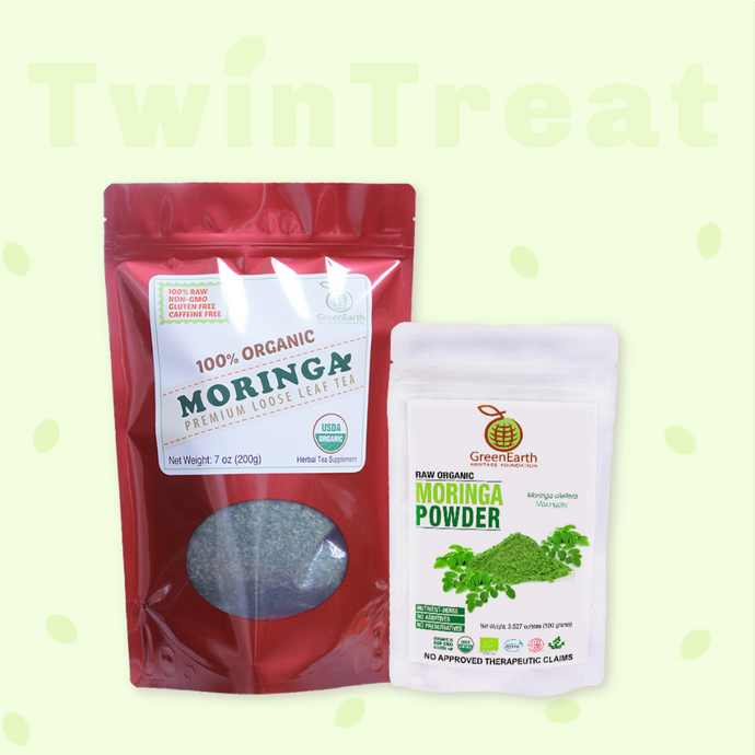 Moringa Miracle Twin Treat Pack of 2- Moringa Loose Leaf Tea  7 oz + Moringa Powder 3.5 oz by GreenEarth