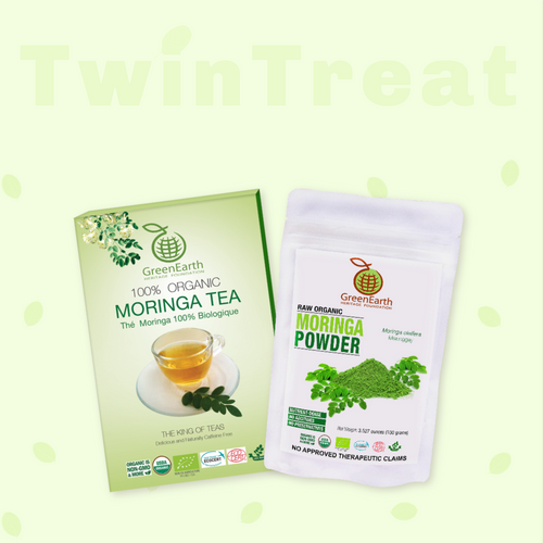 Moringa Miracle Twin Treat Pack of 2- Moringa Loose Leaf Tea  3.5 oz + Moringa Powder 3.5 oz by GreenEarth