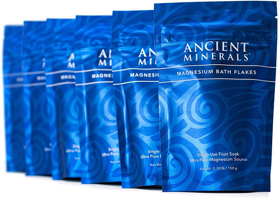 Ancient Minerals® Magnesium Bath Flakes Single Use 0.33 lb in Pouch Pack of 6 available at www.mvpselections.com